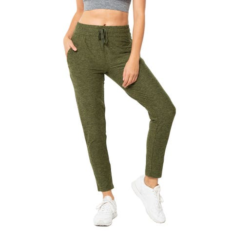 Womens Casual Drawstring Waist Jogger Lounge Cargo Pants with Pockets