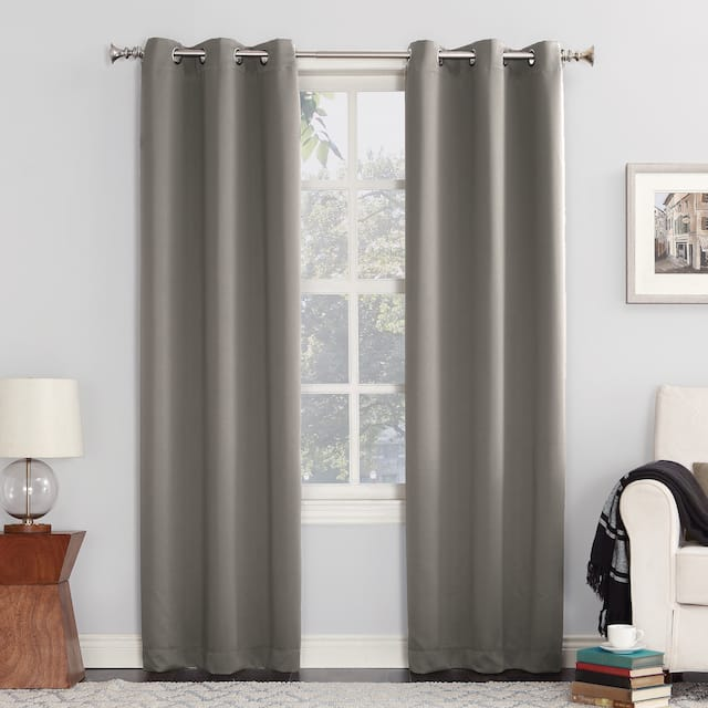 Sun Zero Hayden Energy Saving Blackout Grommet Curtain Panel, Single Panel - 54 x 84 - Grey