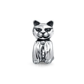 Bling Jewelry Sitting Kitty Cat Charm Bead .925 Sterling Silver