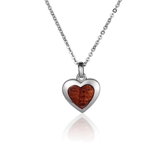 "Heart Necklace Koa Wood Sterling Silver Pendant 18"" Chain"