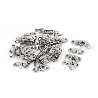 Wood Box Chest Hook Latch Buckle Catch Toggle Hasp Silver Tone 12pcs
