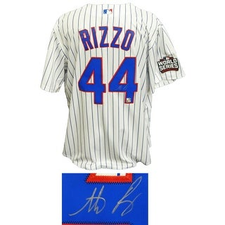 Anthony Rizzo Chicago Cubs White Pinstripe 2016 World Series Patch Majestic Jersey