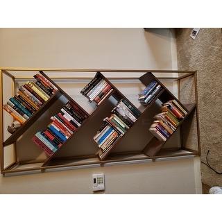 Cortez Gold and Walnut Finish Angular Modern Bookshelf by iNSPIRE Q Bold