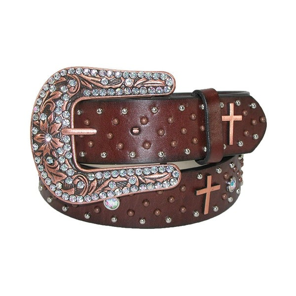 Roper Women's Leather Removable Buckle Belt with Copper Crosses