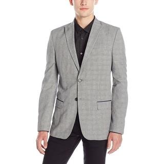 Calvin Klein NEW Black Mens Medium M Slim Fit Plaid Two Button Blazer
