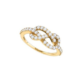 10k Rose Gold Womens Natural Round Diamond Infinity Woven Love Anniversary Fashion Ring 3/4 Cttw - White