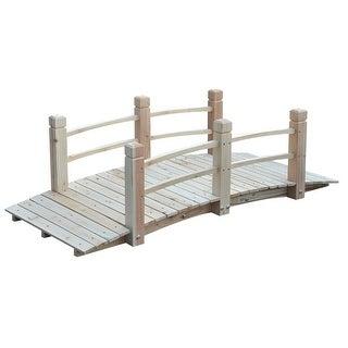 Outdoor 5-Ft Fir Wood Garden Bridge with Handrails