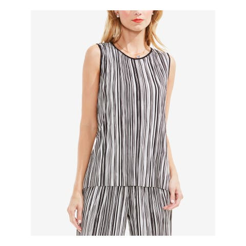 VINCE CAMUTO Womens Black Striped Cap Sleeve Scoop Neck Top Size XL