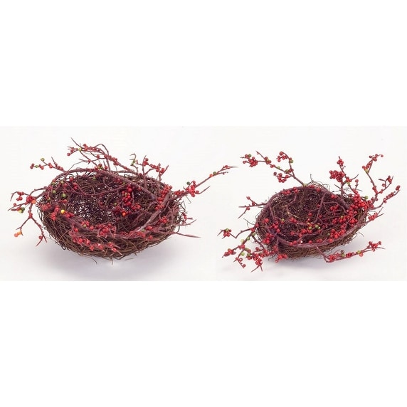 """Set of 6 Red and Brown Artificial Bird Nests with Berries 4"""""""
