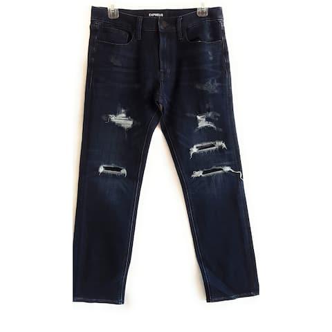 Express Slim Straight Destroyed Stretch Jeans, Dark Wash, W28 L32 - W28 L32