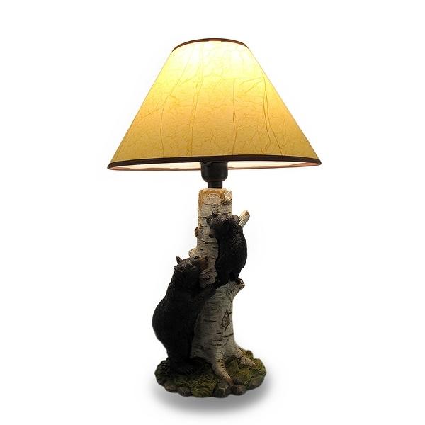 Black Bear And Cub Birch Tree Table Lamp W/ Shade   Multicolored