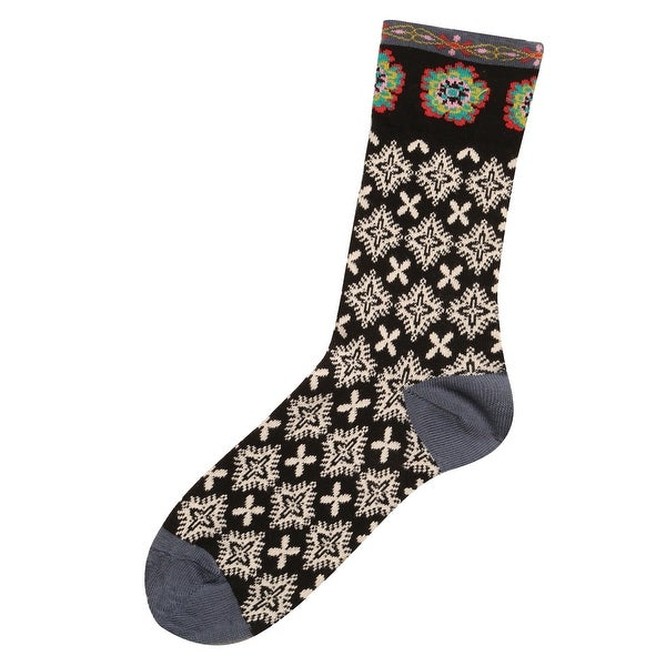 Natural Life Women's Funky Print Socks - Colorful Boho Patterns Crew Length - One size