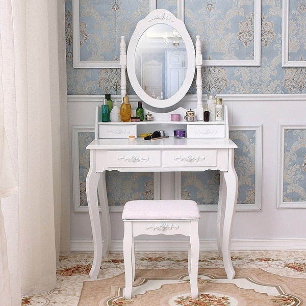 """56""""Mirror Dressing Vanity Table Makeup Desk with Stool White. Opens flyout."""