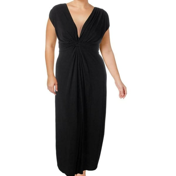 Love Squared Black Womens Size 3X Plus Ruched Sleveless Maxi Dress