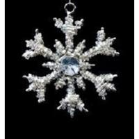 Set of 4 Gray Crystal and Clear Beaded Mini Snowflake Christmas Ornaments 3""