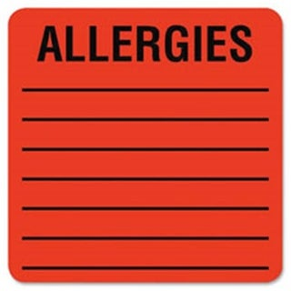 Allergy LabelS, 2 in. x 2 in., 500LB-RL, Fluorescent Red