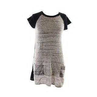 Style & Co. Rye Black Cap-Sleeve Metallic Sequin Sweater Tunic PXL