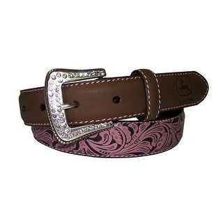 John Deere Western Belt Girls 32MM Floral Crazy Horse Tan 4602300