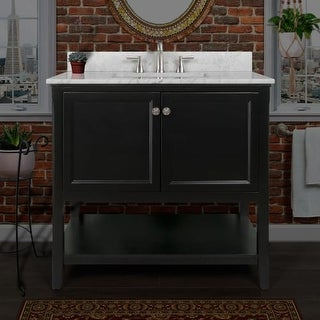 """Miseno MVA3621 Pescara 36"""" Free Standing Vanity Set with Wood Cabinet, Natural Stone Top, and Undermount Sink - Mirror Sold (Option: Grey Finish)"""