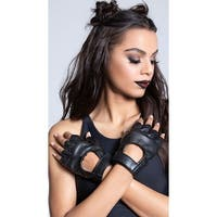 Faux Leather Fingerless Gloves, Faux Leather Gloves - Black - One Size Fits Most