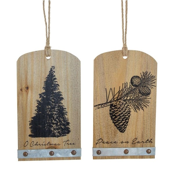 """Club Pack of 12 Wooden Brown and Black Christmas Themed Pine Cone and Tree Tags 8"""""""