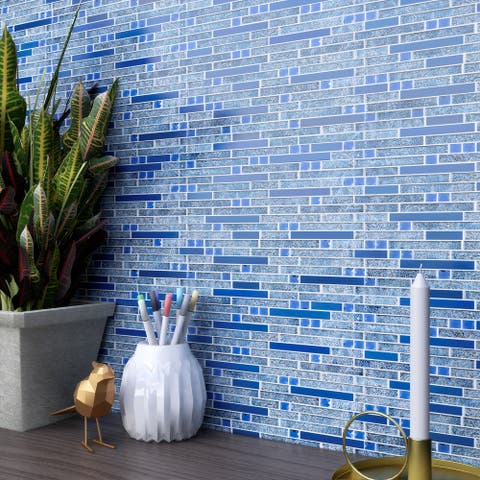 TileGen. Galaxy Diamond Random Sized Metal and Glass Mosaic Tile in Blue Wall Tile (10 sheets/9.6sqft.)