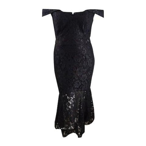 Xscape Women's Off-The-Shoulder Allover-Lace Midi Dress (16, Black) - Black - 16