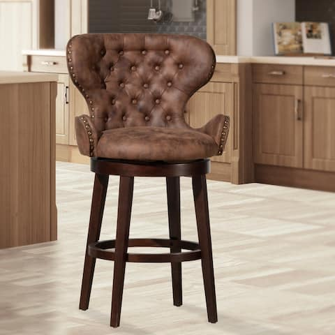 Mid-City Wood and Upholstered Swivel Stool, Chocolate