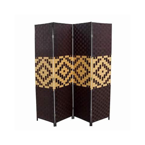 Paper Straw Weave and Wood 4 Panel Screen, Brown and Yellow - 70.75 H x 1 W x 70.5 L Inches