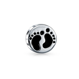 Bling Jewelry Round Baby Footprints Charm 925 Sterling Silver Family Bead for European Bracelet
