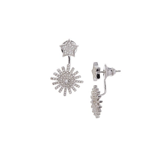 925 Sterling Silver Star Burst Ear Jacket with Cubic Zirconia