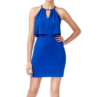 Guess NEW Blue Women's Size 6 Cutout Halter Stretch Bodycon Dress