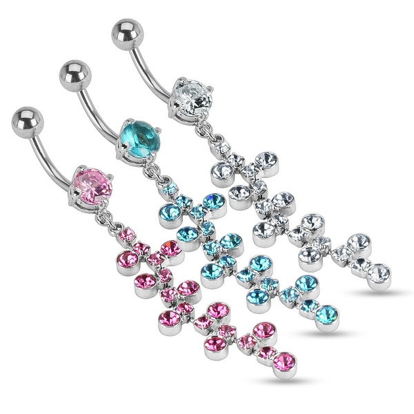 {Pink} Swivel Gem Chain Dangle w/ Bubble CZ Navel Belly Button Ring - 14 GA  3/8