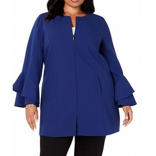 Alfani Women's Jacket Blue Size 3X Plus Ruffle Bell Sleeve Full Zip
