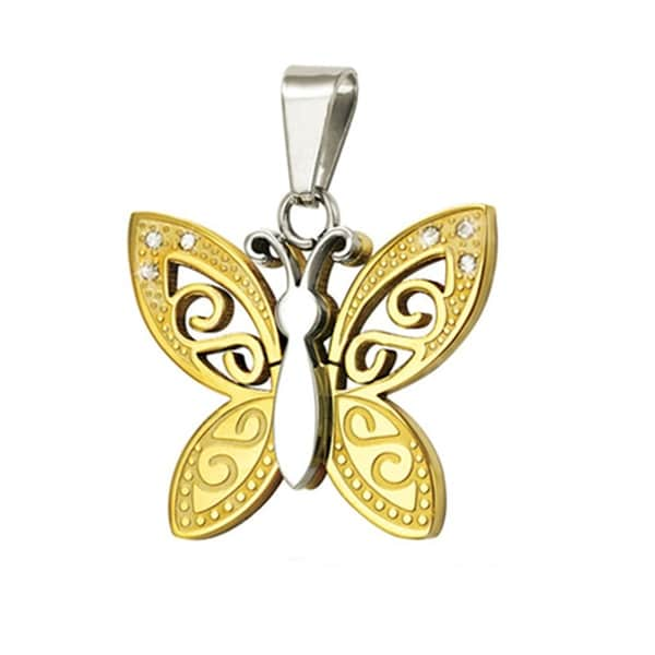 Stainless Steel Two Tone Butterfly Pendant - 24 inches