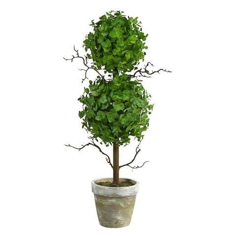 """2' Eucalyptus Double Ball Topiary Artificial Tree - 6"""""""