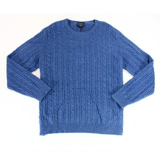 Club Room NEW Blue Mens Size XL Cable-Knit Crewneck Cashmere Sweater