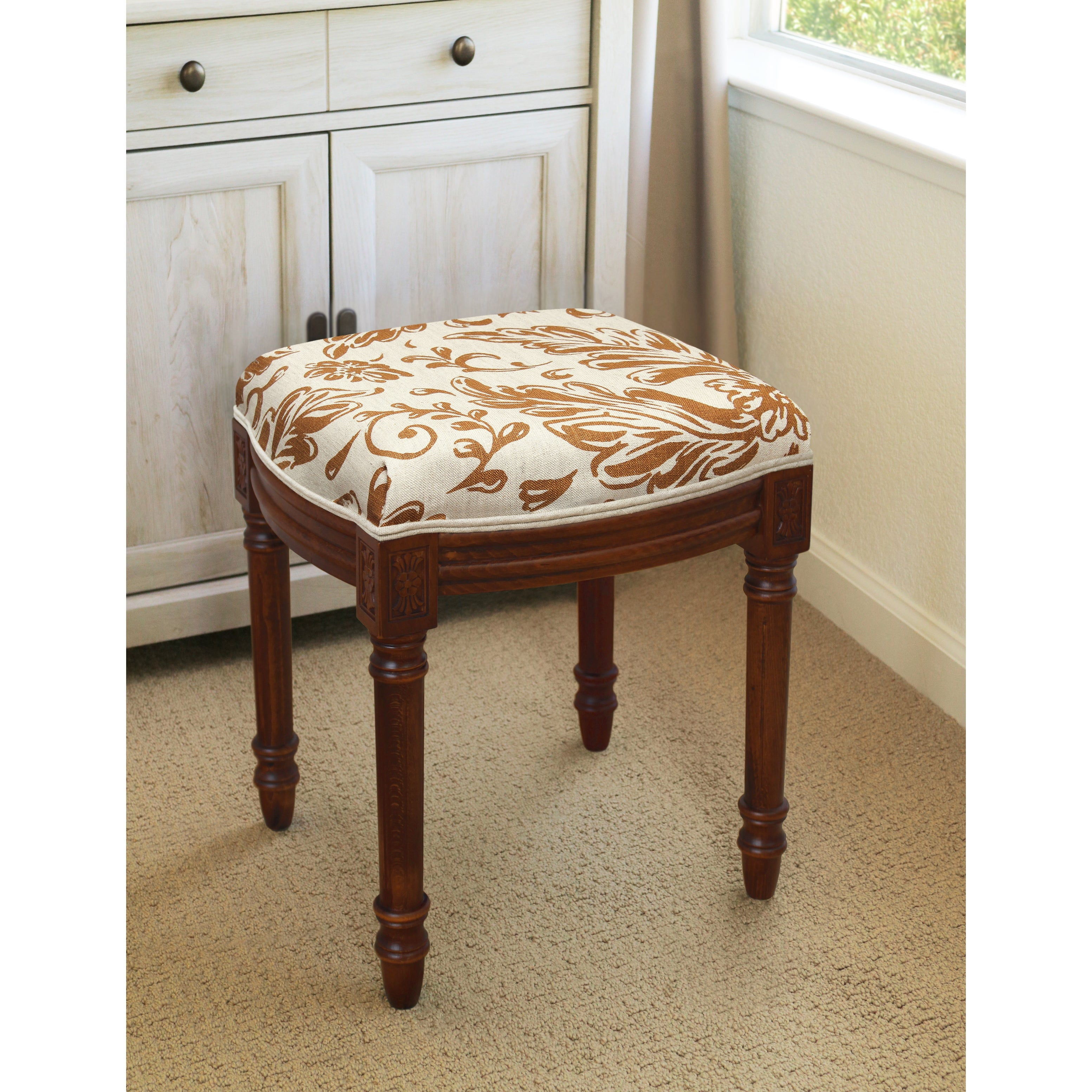 Caramel Tuscan Floral Vanity Stool With Wood Stained Finish Overstock 32811281