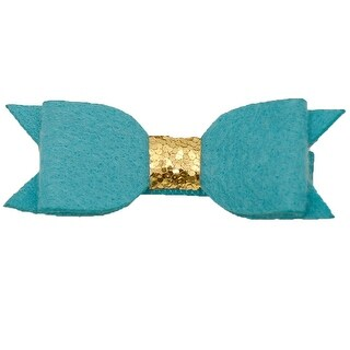 Girls Teal Gold Glitter Sequin Embellished Knot Bow Alligator Hair Clippie