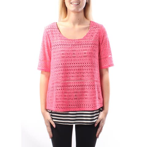 NY COLLECTION Womens Pink Striped Short Sleeve Scoop Neck Top Size: S