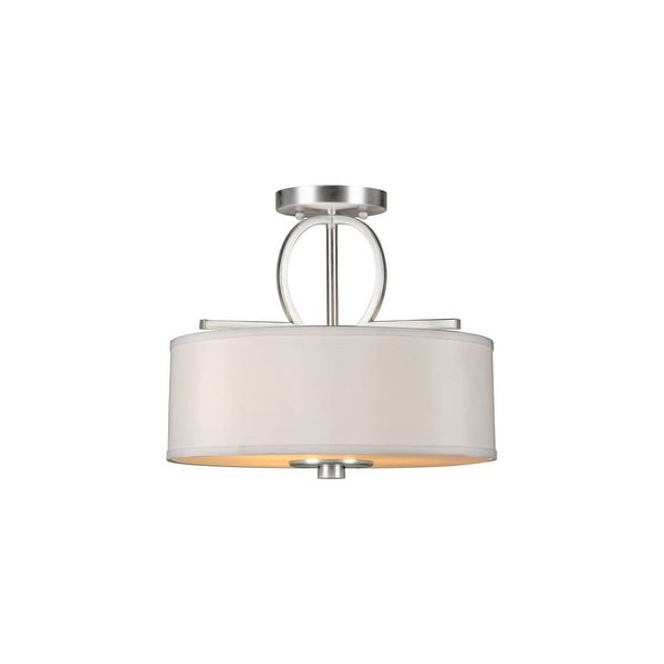 Forte Lighting 2562-03 3-Light Semi-Flush Ceiling Fixture with Fabric Drum Shade - Brushed nickel