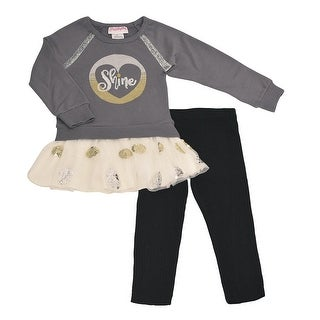 Flapdoodles Little Girls Gray Ivory Sequin Appliques 2 Pc Pant Outfit