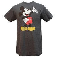 Disney Mickey Mouse Palm Up Men's Distressed Graphic Tee T-Shirt
