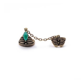Turquoise & Brass Unchained Double Ring