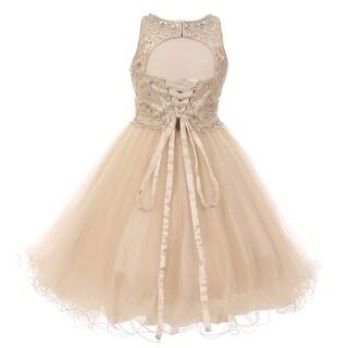 Girls Champagne Rhinestone Halter Neck Tulle Junior Bridesmaid Dress 8-16