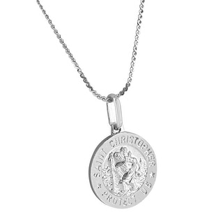 Mens Sterling Silver Saint Christopher Protect Round Medal Stainless Steel Chain