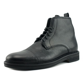 Theory Long Sight Men  Round Toe Leather Black Ankle Boot