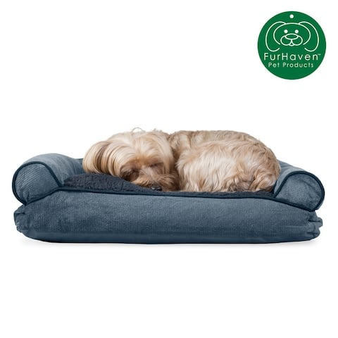 FurHaven Pet Bed Faux Fleece & Chenille Soft Woven Pillow Sofa Dog Bed