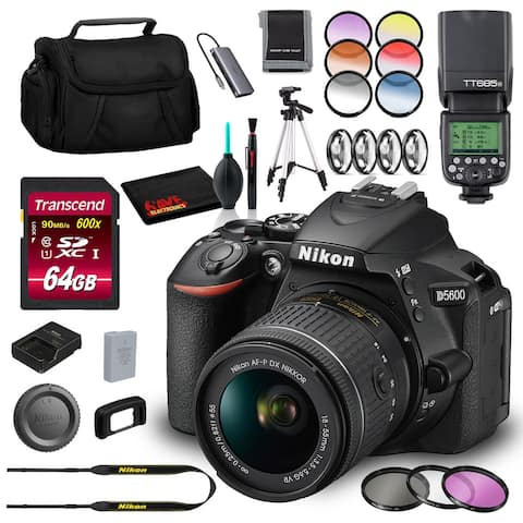 Nikon D5600 DSLR with 18-55mm Lens (Intl Model) with 64GB SD, Flash,