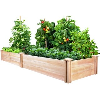 Cedar Wood 2-Ft x 8-Ft Outdoor Raised Garden Bed Planter Frame - Made in USA